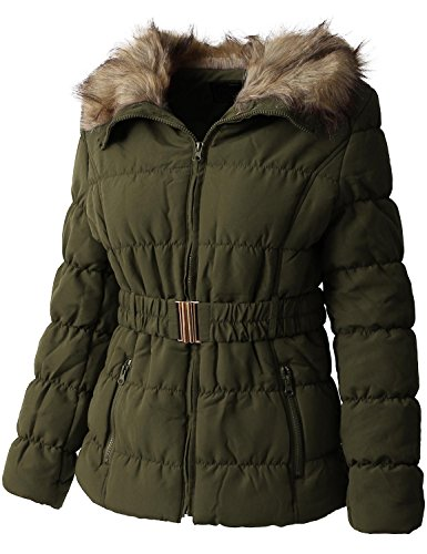 Belted Lined Coat - Ma Croix EC Womens Quilted Faux Fur Lined Belted Coat (Large/gj1133_olive)