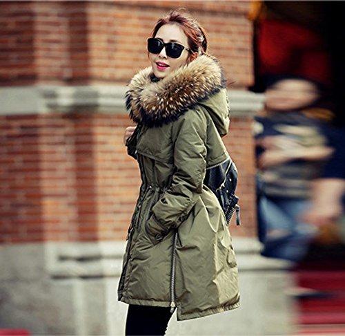 Parka Donna con Coat Collo Homieco Giacca Lungo Inverno Cappuccio Addensare da Verde Cappotti Pelliccia Piumino di Down A6xURHf