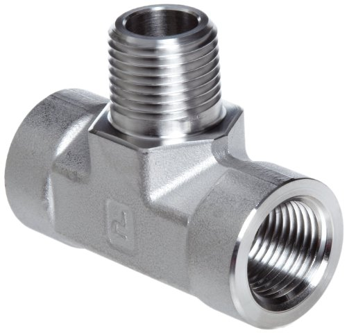 "Parker Stainless Steel 316 Pipe Fitting, Branch Tee, 3/8"" NPT Female x 3/8"" NPT Male x 3/8"" NPT Female"