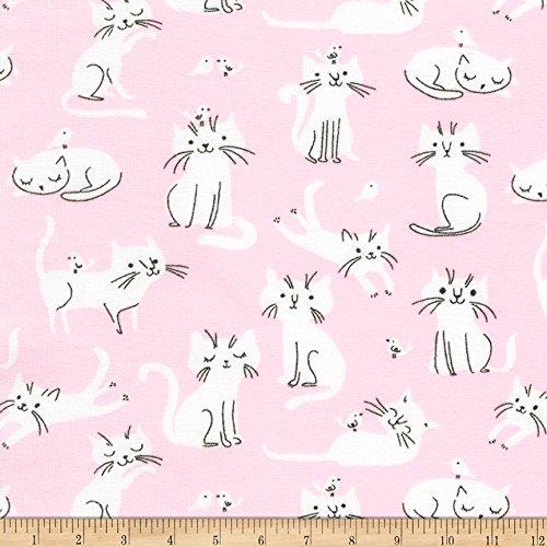 Robert Kaufman Kaufman Laguna Jersey Knit Prints Pink Cats Fabric by The Yard,