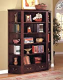 Cheap 3pcs Louis Philipe Style Cappuccino Finish Storage & Display Bookcase Set