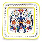 Arte D'Italia Imports Hand Painted Large Ricco Square Plate - Handmade in Deruta