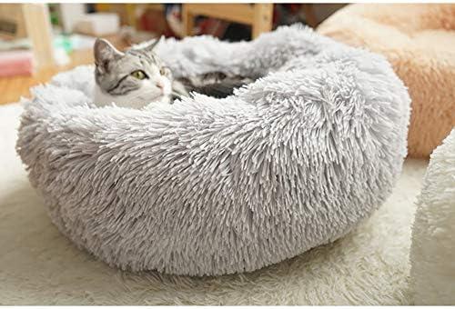 Cozywind Paniers pour Chiens Rond en Peluche Animal De Compagnie Lit Panier Rond Peluche Chat Chiens Lit Paniers Rond (70CM, Gris Clair)