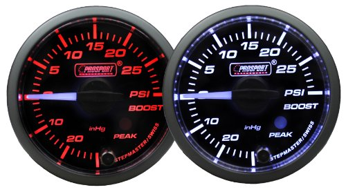 Boost Gauge-Electrical Amber/white Premium Series Clear lens white pointer with Peak Recall and Warning 52mm (2 1/16