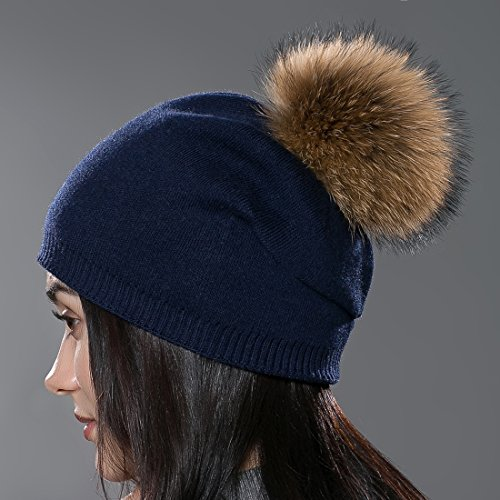 URSFUR Autumn Unisex Wool Knit Beanie Cap with Fur Ball Pom Pom Winter Hat