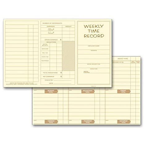 amazon com weekly employee time cards office products