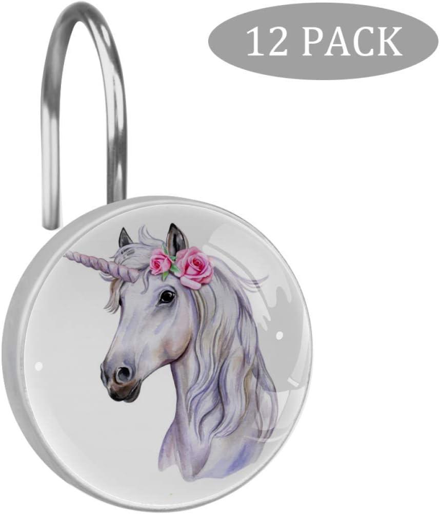 Shiiny - Anillas decorativas para cortina de ducha de acero inoxidable, diseño de caballo, color blanco