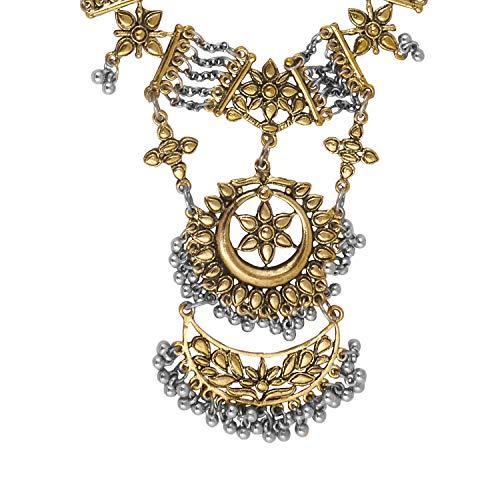 bodha Bollywood Inspired Boho Gypsy Dual Tone German Silver Oxidised Necklace for Women (SJ_2698)
