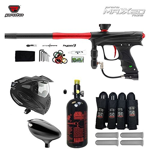 Cheap MAddog Proto Rize MaXXed Paintball Marker w/Proto Primo Hopper & FS Thermal Goggle Combo Package – Black/Red