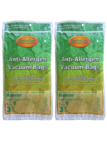 EnviroCare Replacement Allergen Vacuum Bags for Hoover WindTunnel Type Y Uprights 6 Pack