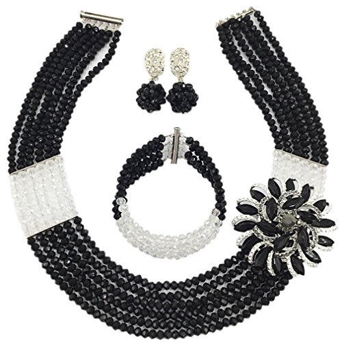 aczuv Nigerian Wedding African Beads Jewelry Set Crystal Beaded Necklace Earrings (Black Transparent) ()