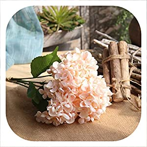 Memoirs- Artificial Fake Silk Flower Hydrangea Leaf 5 Heads Real Touch Artificial Flowers Silk Bouquets for Home Party Wedding Decoration,1 102