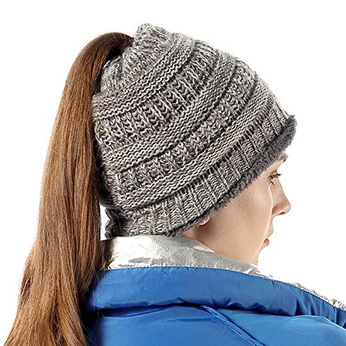 Cable Knit Beanie Thick, Soft Warm Chunky Beanie Hats for Women Light Gray Mix -
