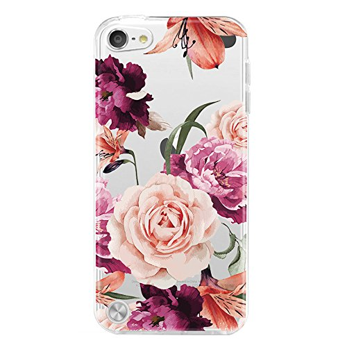 iPod Touch 5 Case,iPod Touch 5 Case for with Flower,LUOLNH Slim Shockproof Clear Floral Pattern Soft Flexible TPU Back Cover for Apple iPod Touch 5th Generation((Purple) (Case Ipod Protective 5 Flower)