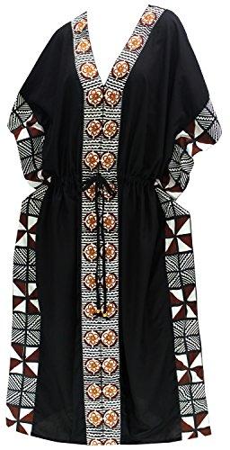 bagno dalla di delle costume LEELA vestirsi nero kimono usura da LA notte coprire donne caftano spiaggia del di vestito lungo del wSP74fqyYI