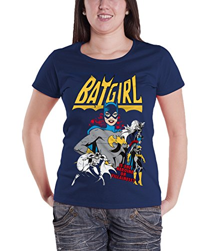 Batman T Shirt Batgirl Hero Or Villain new Official Womens Junior Fit Navy (Heroes And Villains Clothing)