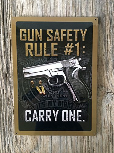 Vintage style tin metal sign//gift for him//fathers Day man cave//shabby chic rustic second ammendment wall art//funny gun ()
