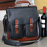 3-Bottle Leather BYO Wine Carrier Bag w/Front Pockets, Charcoal