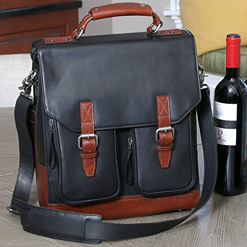 (3-Bottle Leather BYO Wine Carrier Bag w/Front Pockets, Charcoal)