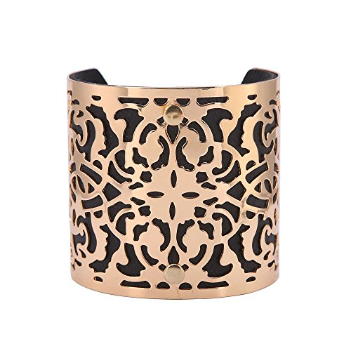 Edress Vintage Lace Bangles&Bracelets Black And Gold Pattern Hollow Out Cuff Womens Fashion Jewelry 7'' (Black 2)