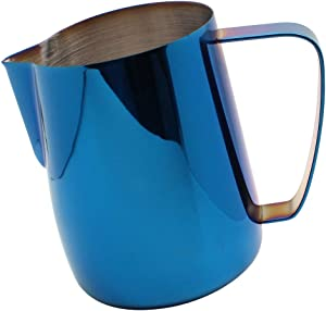 Dianoo Stainless Steel Milk Frothing Pitcher Plated With Titanium Creamer Latte Art Cup Coffee Latte Cappuccino Blue 600ml