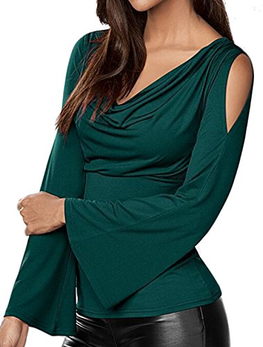 ouxiuli Women's V-neck Long Bell Sleeve T-shirt Blackish Green XXS