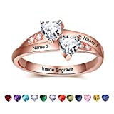 Lam Hub Fong Customized Rose Gold Engagement Rings for Women Personalized Birthstone Rings Promise Ring for Couples Wedding Rings for Her (5.5)