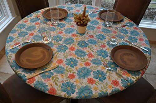 Covers For The Home Deluxe Elastic Edged Flannel Backed Vinyl Fitted Table Cover - Floral Pattern - Large Round - Fits Tables up to 45