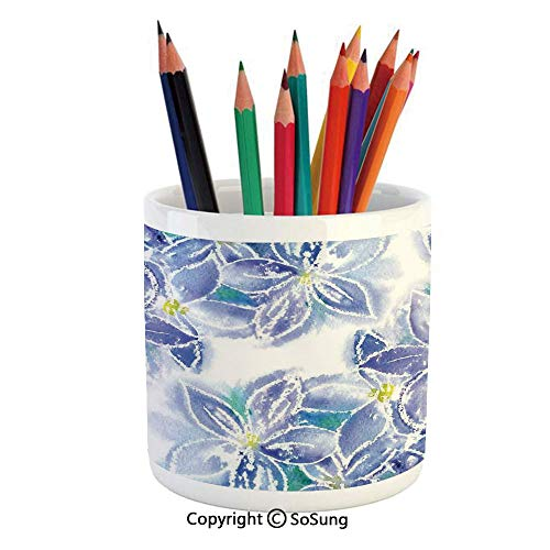 - Printed Ceramic Pencil Pen Holder Case Box,Spring Season Blossoms Mother Earth Petals Bouquet Design Beautiful Stationery for Daily Use in Office,Classroom,Home,Gift Idea,Blue Yellow