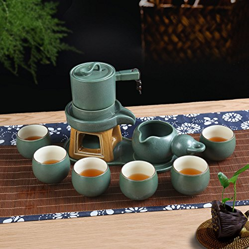 Chinese Ceramic Tea Service Set for 6 Adults Girl Tea Party With Handmade Imitation Stone Design Gongfu Porcelain Teapot Tea Cups (Japanese Zen Style,Gift Box,10 Pcs,Green)