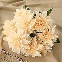 Homyu 10 Heads Dahlia Fake Flowers Artificial Dahlia Flowers Faux Flowers for Home Wedding Party Office Supplies (Champagne)