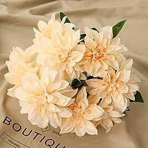 Homyu 10 Heads Dahlia Fake Flowers Artificial Dahlia Flowers Faux Flowers for Home Wedding Party Office Supplies 86