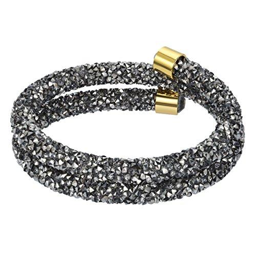 Swarovski Bangle Rhinestone (Sekluxy Adjustable Multi-Colored Double Bangle bracelet with Swarovski Crystal,Gift for Girl)