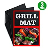 Grill&Baking Mats by BUDGET & GOOD Set of 3 Non-Stick BBQ Grilling Sheets-Perfect for Gas Charcoal Electric Grills 16x13 Inches
