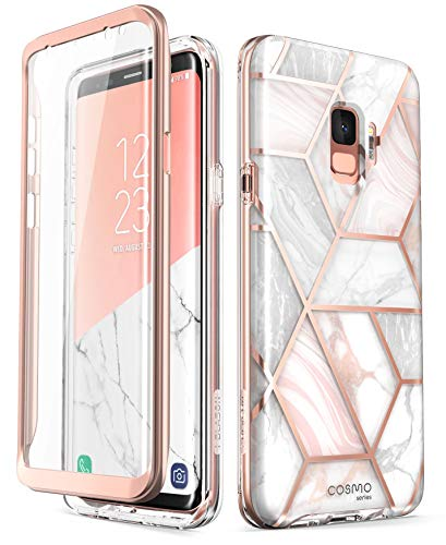 (Samsung Galaxy S9 Case, [Built-in Screen Protector] i-Blason [Cosmo] Full-Body Glitter Sparkle Bumper Protective Case for Galaxy S9 (2018 Release) (Marble))