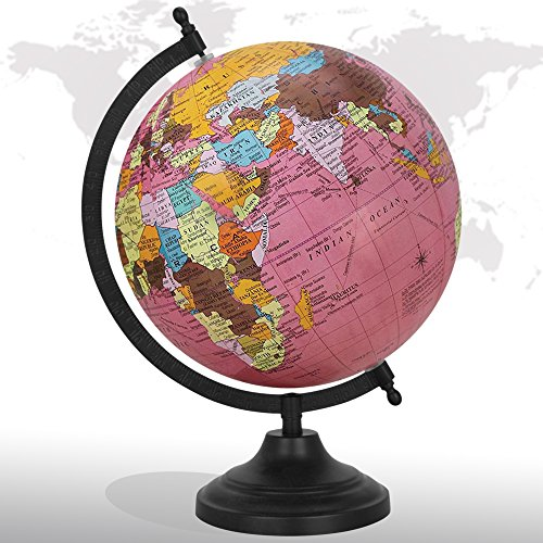 Decorative Rotating World Map Globe Pink 8'' Inches Metal Base Educational Globe Office Table Décor by GlobeArt