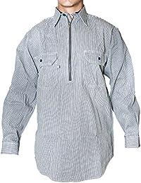 BCO Men's Long Sleeve Half Zipper Front Hickory Stripe Logger Shirt