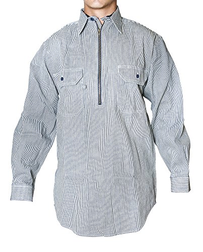 (Blue Collar Men's Long Sleeve Half Zipper Front Hickory Stripe Logger Shirt)