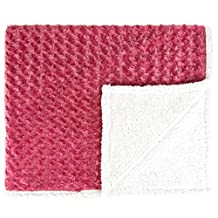 Raspberry Faux Fur & Sherpa Throw Blanket