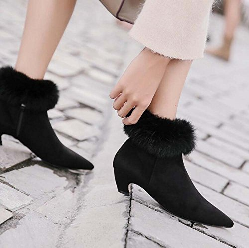 Botines Punta Martin De 5cm Eu Alto Boots Invierno E Toe Corte Tacón Tamaño Black Tall Otoño 34 40 Moda 2017 Vestir Mujer Heel Chunkly Bootie Zapatos Ante qZAYIA
