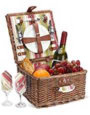 Home Innovation Picnic Basket for 2 Person, Durable Wicker Picnic Hamper Set, Willow Picnic Basket Accessories Plates and Utensils, Perfect Wedding, Anniversary or Birthday Gift (Green Stripe)
