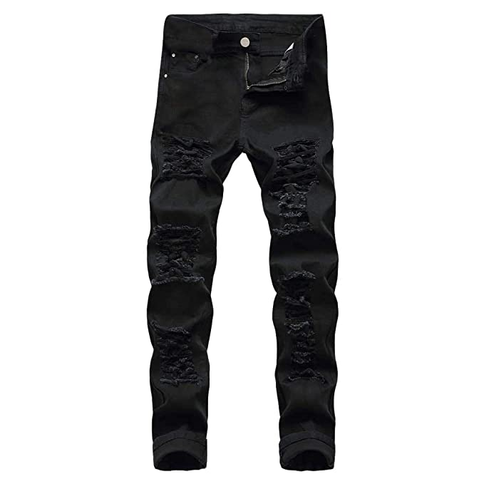 Mens Ripped Slim Fit Straight Denim Jeans Casual Autumn Denim Cotton Ripped Hole Trousers Jeans Pants