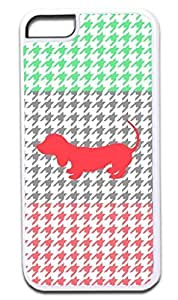 Colorblock Houndstooth-Green,Slate, Coral-Puppy Silhouette- Case for the APPLE IPHONE 5 ONLY!!! NOT COMPATIBLE WITH THE IPHONE 5c!!!-Hard White Plastic Outer Case with Tough Black Rubber Lining