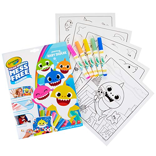 Crayola Baby Shark Wonder Pages Mess Free Coloring Gift, Kids Indoor Activities at Home