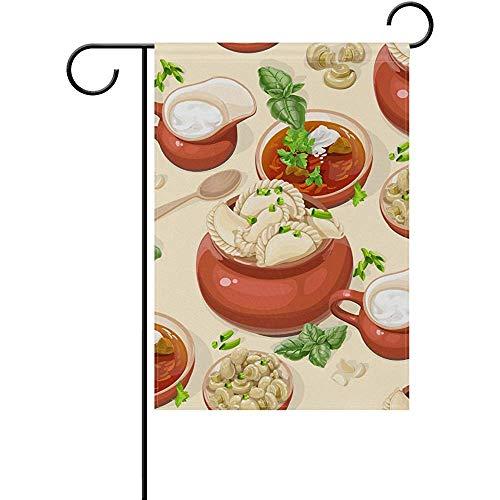 Yunnstrou Double Sided Welcome Garden Flag Dumplings Fade Resistant Seasonal Holiday Decorative Yard Flag 12x18 Inch