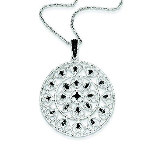 Argent Sterling Rhodium plaqué diamant brut JewelryWeb Noir-Pendentif en forme de cercle