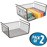 mDesign Under Shelf Hanging Wire Storage Basket for Kitchen, Pantry, Cabinet - Pack of 2, Bronze