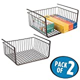 mDesign Under Shelf Hanging Wire Storage Basket for Kitchen, Pantry, Cabinet - Pack of 2, Bronze