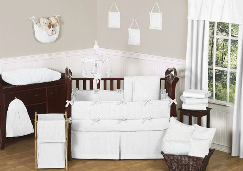 Sweet Jojo Designs 9-Piece Solid White Minky Dot Neutral Baby Girl Boy Unisex Bedding Crib Set ()