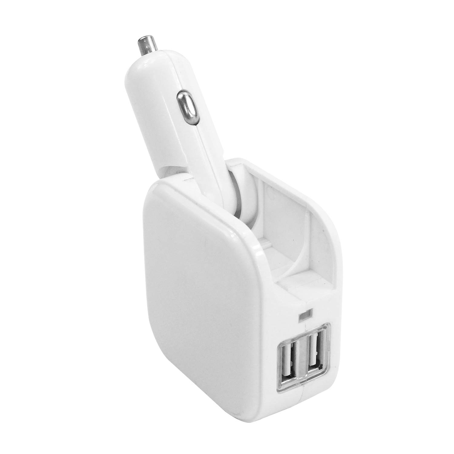 White Dual USB Port Car Charger